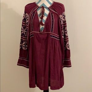NWT Free People bohemian long sleeve peasant dress